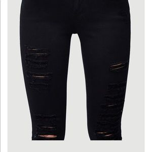 Frame skinny black mid-rise ripped jeans